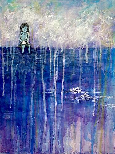 """""""While I Wait"""" Original Mixed-Media Painting"""