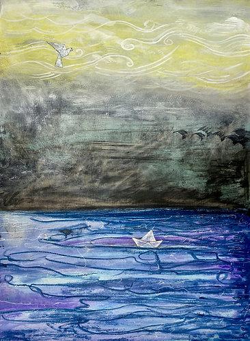 """Set Sail"" Original Mixed-Media Painting"