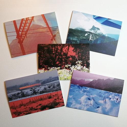 Set of 5 cards - Collaged Landscape