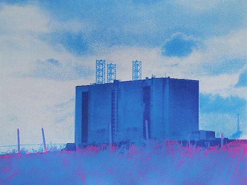 'Blue Hartlepool' unique screen print 375 x 498mm