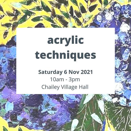Acrylic Techniques - Saturday 6 November 2021 - Chailey Village Hall