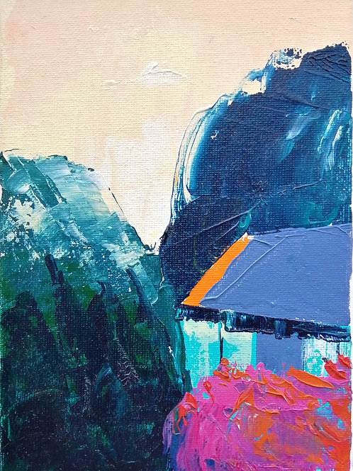 'The Kiln' acrylic on canvas 175 x 127mm