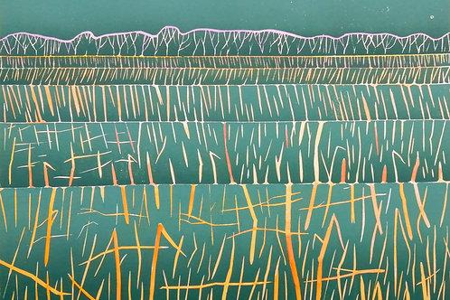 'Stubble Field' unique hand-coloured relief print 210 x 297mm