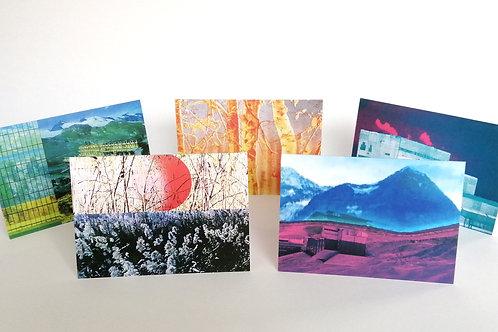 Set of 5 cards - Printed landscapes