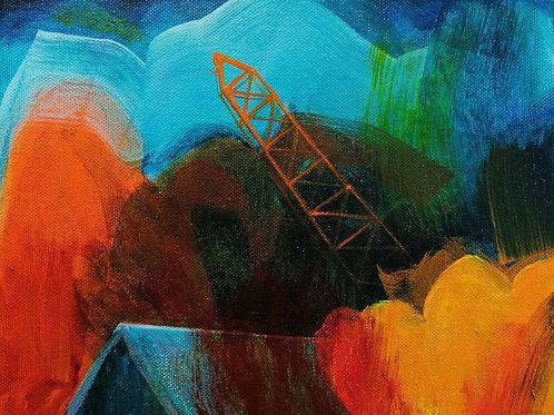 'Orange Crane Across the Fen' acrylic on canvas 20 x 25cm