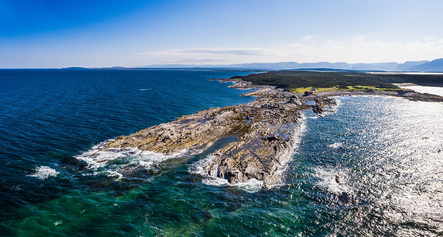 Aerial shot of the rocky coastline at Broom Point Fishing Premises in Gros Morne National Park.
