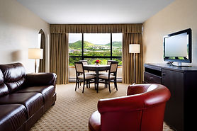 A modern room at the Greenwood Hotel and Suites, Corner Brook.
