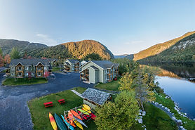 Aerial view of Marble Inn Resort grounds alongside the Humber River.