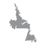 Grey map of the Canadian province of Newfoundland and Labrador.
