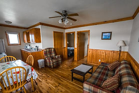 A cozy cottage with pine flooring and half pine panelling. A couch, chair, and coffee table.