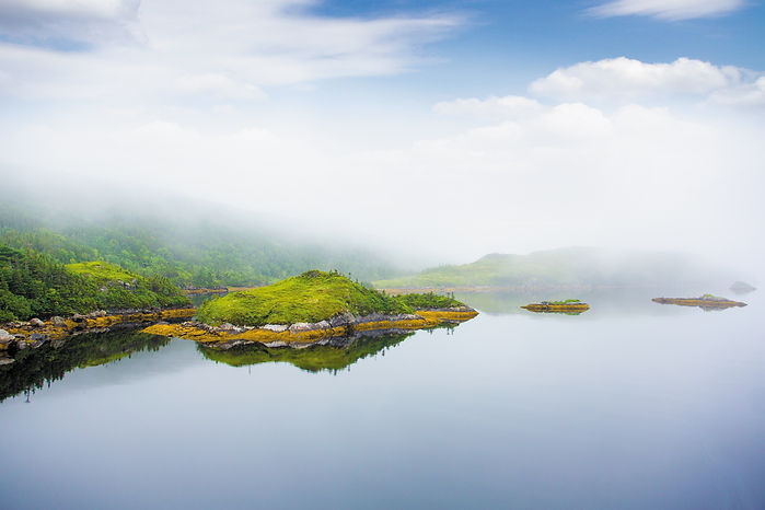 The foggy coastline near Rose Blanche, Newfoundland, is reflected in the calm water.