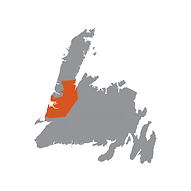 Grey map of Newfoundland with the Humber Valley and Bay of Islands regions highlighted red.