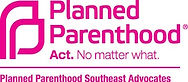 Planned parenthood southeast advocates logo. Action Pink color. Says: Act. No matter what.