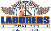 Laborers Local logo includes a picture of an axe and shovel crossing eachother with a glode in the background and eagle's wings.
