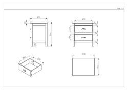2 Drawer Bedside Measurements