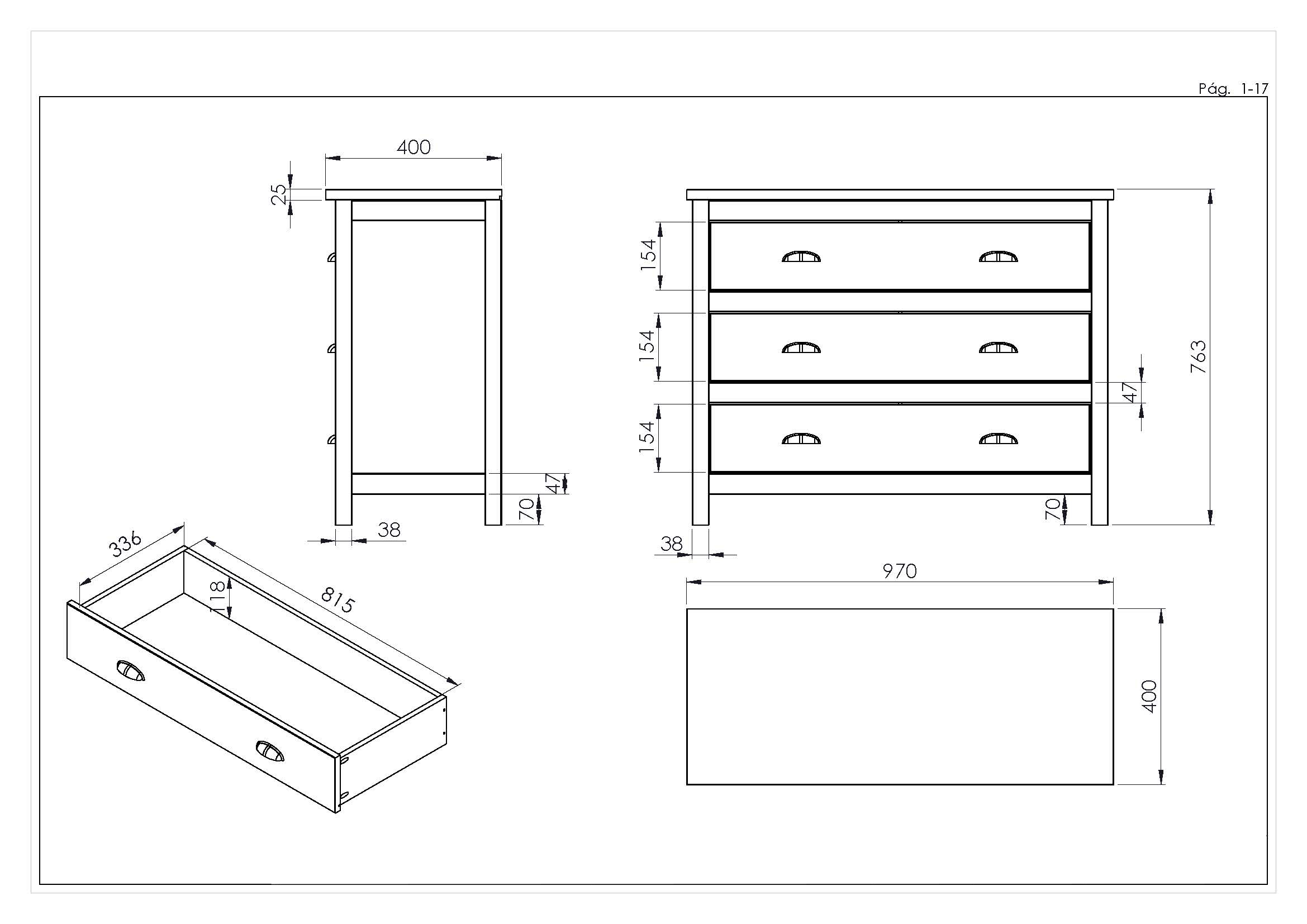 Kingston 3 Drawer Chest Measurements