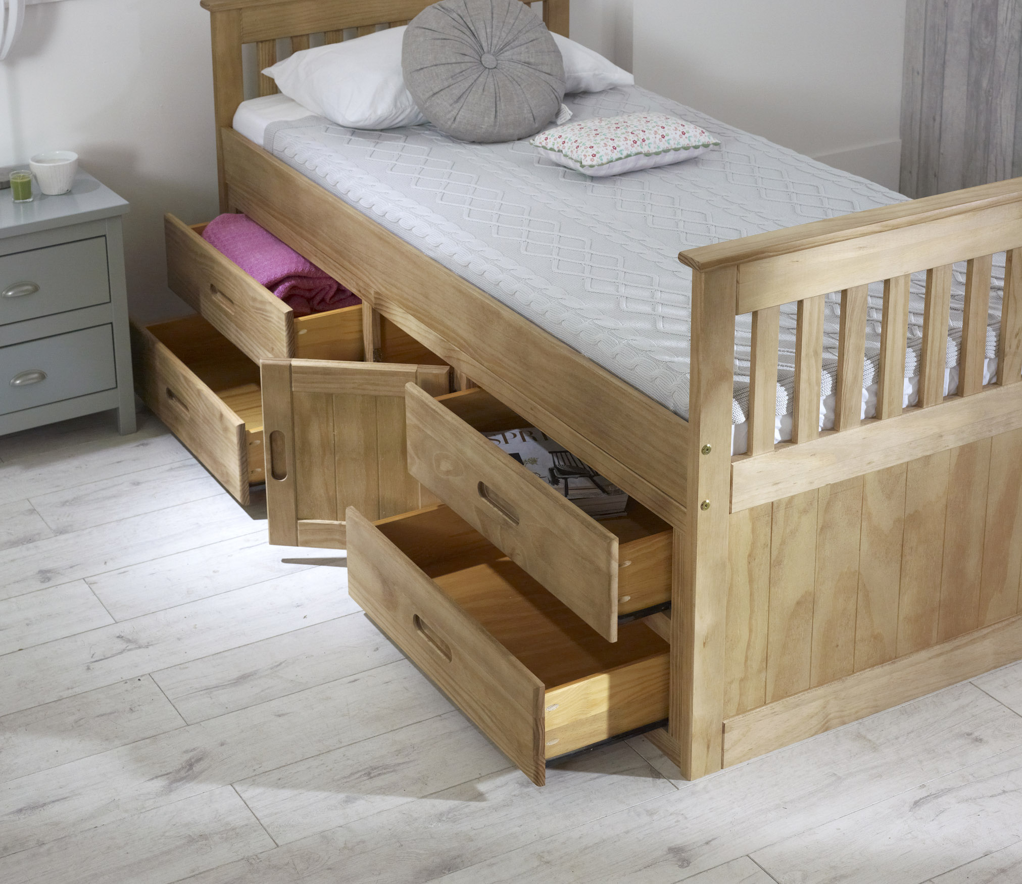 Captains Storage Bed in Waxed