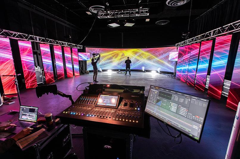 studio, virtual production, led wall, studio space, creative, professional, audio console