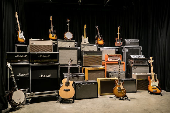 Events United backline guitars, bass, banjo, and amplifier