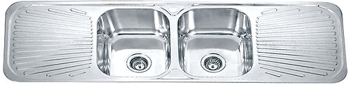 Dante double bowl with double drainer c/w basket waste