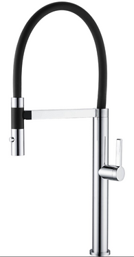 Jamie sink mixer with black hose in chrome