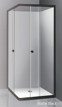Framed corner sliding door (760-1200)mm Matt black