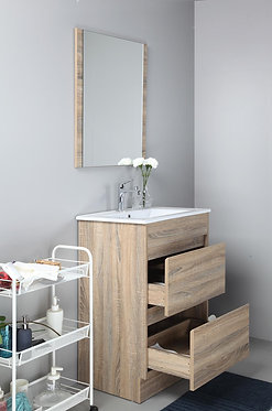 600mm LEO timber vanity - ceramic/stone with under or above counter basin