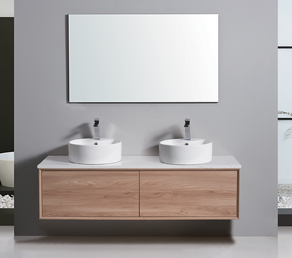 1500mm MIA timber vanity - ceramic/stone with under or above counter basin