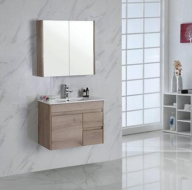 750mm YORK wall hung timber vanity - ceramic top