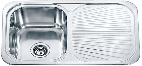 Dante single bowl with drainer c/w basket waste