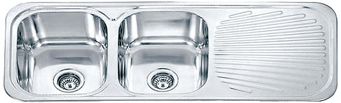 Dante double bowl with one side drainer c/w basket waste