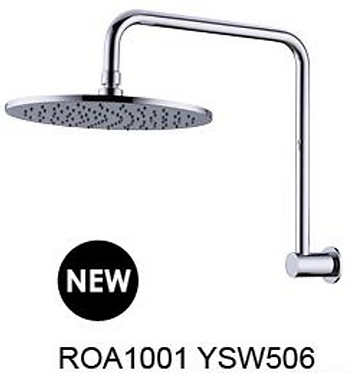 Round shower head with swivel arm