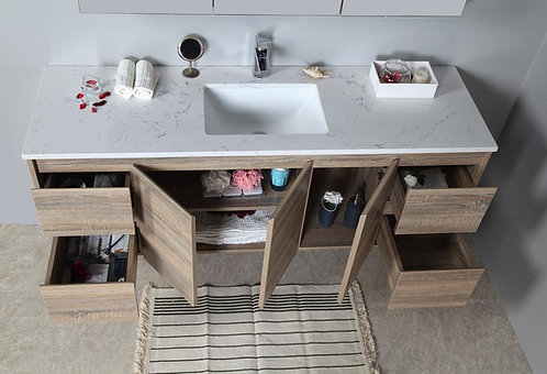 1500mm GRACE timber vanity - ceramic/stone with under or above counter basin