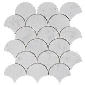 Calacutta fan mosaic 225x230mm