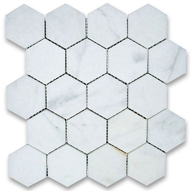 Calacutta hexagon mosaic 250x290mm