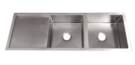 Impact double bowls sink with drainer