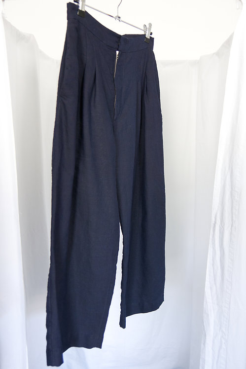 Navy Pleats Trousers