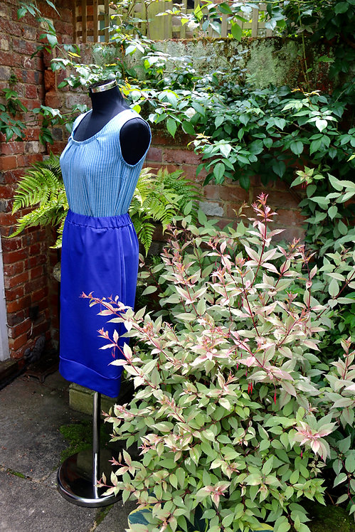 Straight Skirt Blue Jersey
