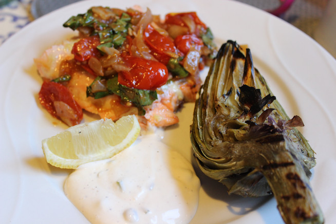 Grilled Salmon with Heirloom Cherry Tomatoes and Grilled Artichokes with Lemon Caper Sauce