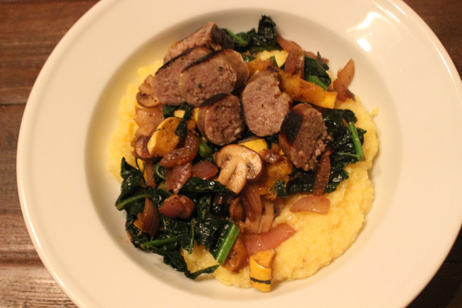 Sautéed Vegetables with Sausage and Roasted Squash Over Creamy Polenta