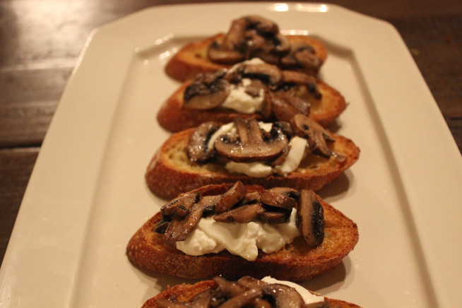 Sautéed Mushrooms and Burrata Crostini