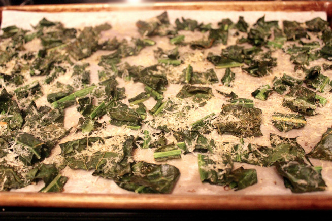 Kale Chips with a Parmigiano-Reggiano Sprinkle