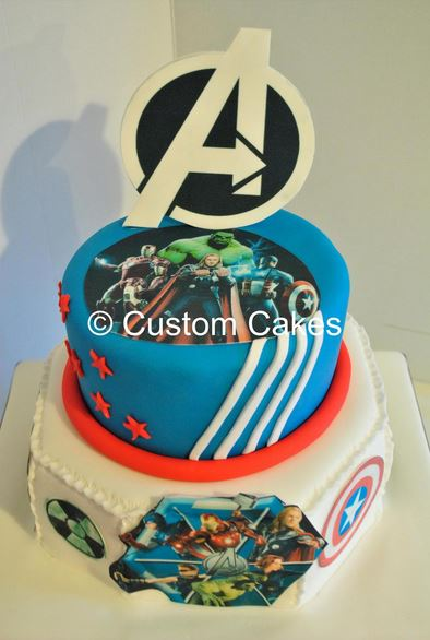 Avengers Assemble 40 Portions EUR110 20 Single Tier EUR75 All Prices Vat 135 Please See Terms Conditions Below Novelty Cake