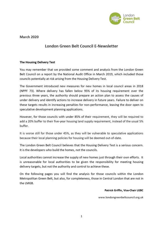 London Green Belt Council Newsletter March 2020