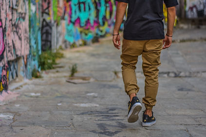 A man walking on an urban street