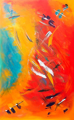 Orange, Teal and White Abstract Art