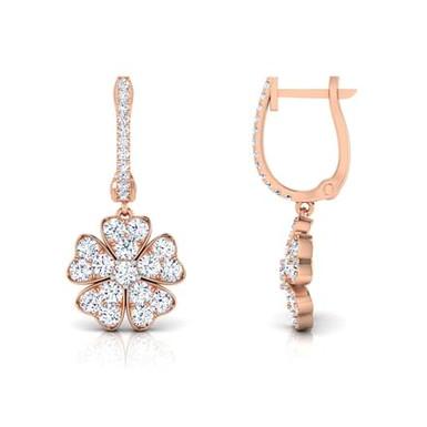 COEURS, Boucles d'Oreilles Diamants pour Femme Or Rose 18 carats