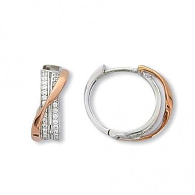 CYGNE, Boucles d'Oreilles diamant en oxyde de zirconium pour femme 2 tons argent