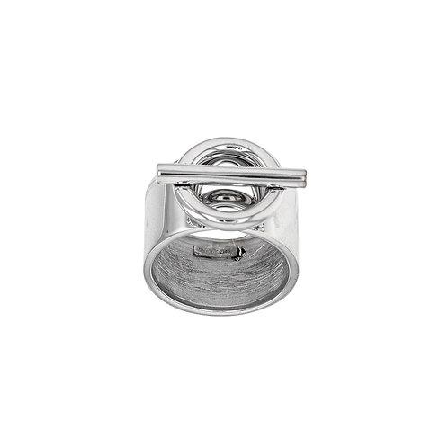 Bague URBAN argent 925/1000 rhodié or blanc cercle et barre