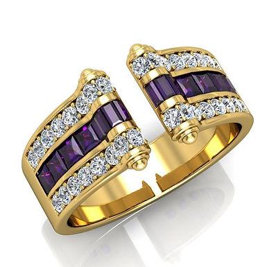 VENDOME ROYALE, Bague Joaillerie Diamants Améthyste Or Jaune 18 carats